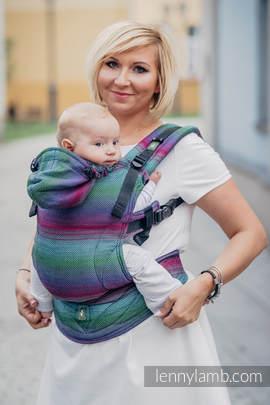 Nosidełko Ergonomiczne , splot jodełkowy, 100% bawełna , Baby Size, MAŁA JODEŁKA IMPRESJA DARK- Druga Generacja