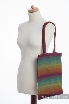 Shopping bag made of wrap fabric (100% cotton) - LITTLE HERRINGBONE IMAGINATION DARK