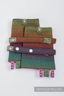 Drool Pads & Reach Straps Set, (100% cotton) - LITTLE HERRINGBONE IMAGINATION DARK