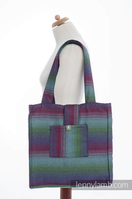 Shoulder bag made of wrap fabric (100% cotton) - LITTLE HERRINGBONE IMPRESSION DARK - standard size 37cmx37cm