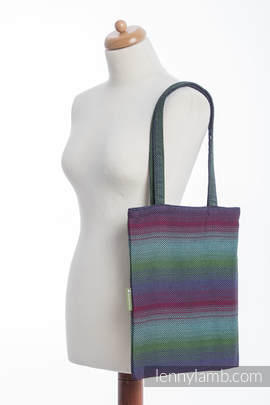 Shopping bag made of wrap fabric (100% cotton) - LITTLE HERRINGBONE IMPRESSION DARK