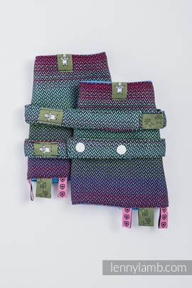 Drool Pads & Reach Straps Set, (100% cotton) - LITTLE HERRINGBONE IMPRESSION DARK