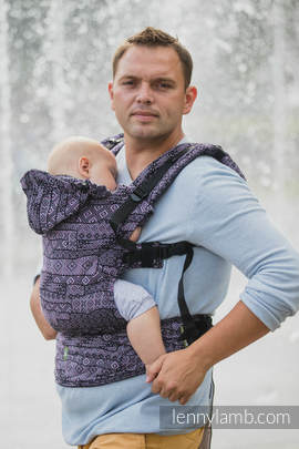 Ergonomic Carrier, Toddler Size, jacquard weave 100% cotton - wrap conversion from ENIGMA PURPLE, Second Generation