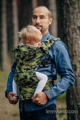 Ergonomic Carrier, Toddler Size, jacquard weave 100% cotton - wrap conversion from GREEN CAMO - Second Generation