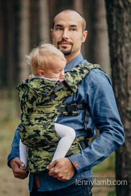 Ergonomic Carrier, Baby Size, jacquard weave 100% cotton - wrap conversion from GREEN CAMO - Second Generation