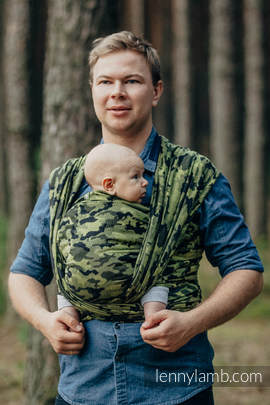 Baby Wrap, Jacquard Weave (100% cotton) - GREEN CAMO - size XL