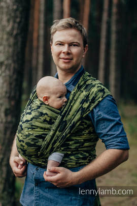 Baby Wrap, Jacquard Weave (100% cotton) - GREEN CAMO - size M