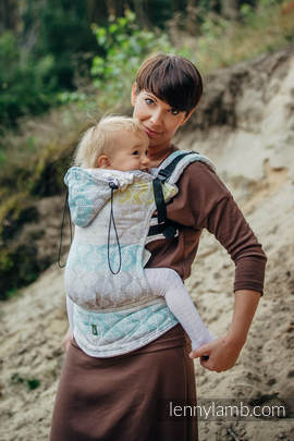 Ergonomic Carrier, Toddler Size, jacquard weave 80% cotton, 17% merino wool, 2% silk, 1% cashmere - wrap conversion from DAISY PETALS, Second Generation