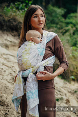 Baby Wrap, Jacquard Weave (80% cotton, 17% merino wool, 2% silk, 1% cashmere) - DAISY PETALS - size XL