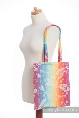 Einkaufstasche, hergestellt aus gewebtem Stoff (100% Baumwolle) - DRAGONFLY RAINBOW