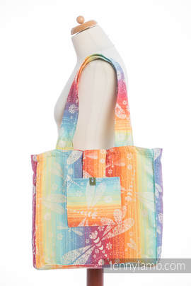 Shoulder bag made of wrap fabric (100% cotton) - DRAGONFLY RAINBOW - standard size 37cmx37cm