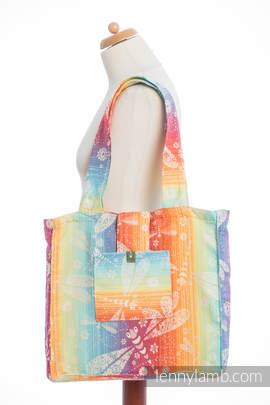 Schultertasche, hergestellt vom gewebten Stoff (100% Baumwolle) - DRAGONFLY RAINBOW