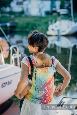 Nosidełko Ergonomiczne z tkaniny żakardowej 100% bawełna , Toddler Size, WAŻKI TĘCZOWE - Druga Generacja