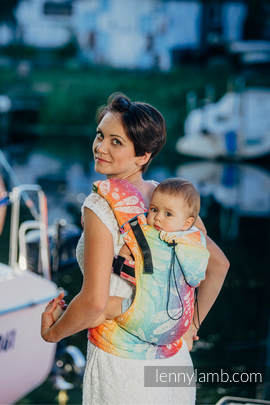 Ergonomic Carrier, Baby Size, jacquard weave 100% cotton - wrap conversion from DRAGONFLY RAINBOW - Second Generation