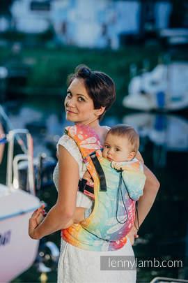 Nosidełko Ergonomiczne z tkaniny żakardowej 100% bawełna , Baby Size, WAŻKI TĘCZOWE - Druga Generacja