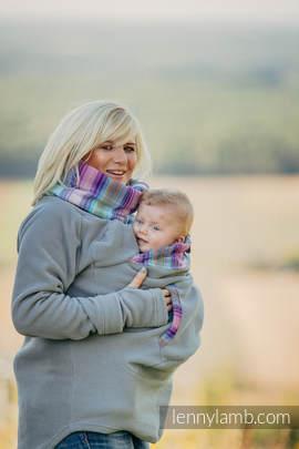 Fleece Babywearing Sweatshirt - size M - grey with Little Herringbone Tamonea