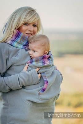 Fleece Babywearing Sweatshirt - size L - grey with Little Herringbone Tamonea