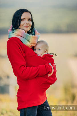 Fleece Babywearing Sweatshirt - size XXL - red with Little Herringbone Imagination (grade B)