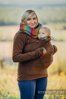 Fleece Babywearing Sweatshirt - size XL - brown with Little Herringbone Imagination Dark