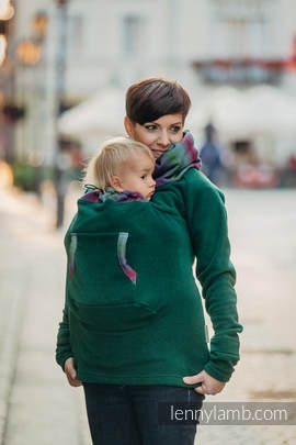 Fleece Babywearing Sweatshirt - size XXL - dark green with Little Herringbone Impression Dark