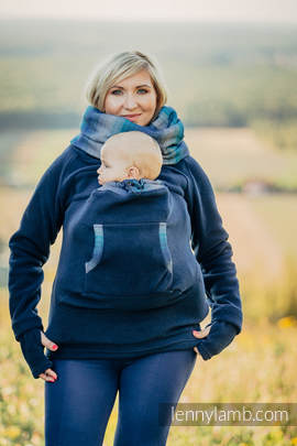 Fleece Babywearing Sweatshirt - size XXL - navy blue with Little Herringbone Illusion