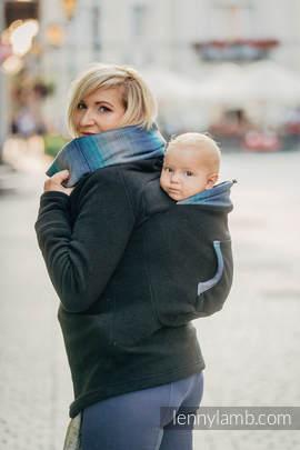 Fleece Babywearing Sweatshirt - size XL - black with Little Herringbone Illusion