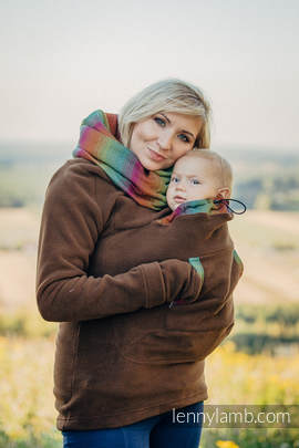 Fleece Babywearing Sweatshirt - size XXL - brown with Little Herringbone Imagination Dark