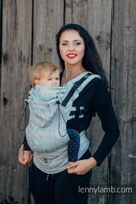 Ergonomic Carrier, Baby Size, jacquard weave 60% cotton 28% linen 12% tussah silk - wrap conversion from TWISTED LEAVES GREY & TURQUOISE, Second Generation