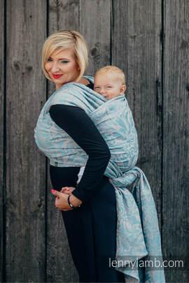 Żakardowa chusta do noszenia dzieci, 60% Bawełna 28% Len 12% Jedwab Tussah - ZAKRĘCONE LIŚCIE SZARY Z TURKUSEM  - rozmiar S