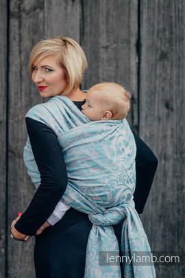 Żakardowa chusta do noszenia dzieci, 60% Bawełna 28% Len 12% Jedwab Tussah - ZAKRĘCONE LIŚCIE SZARY Z TURKUSEM  - rozmiar M (drugi gatunek)