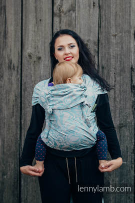 WRAP-TAI carrier Mini with hood/ jacquard twill / 60% cotton 28% linen 12% tussah silk /TWISTED LEAVES GREY & TURQUOISE