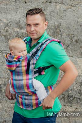 Nosidełko Ergonomiczne , splot jodełkowy, 100% bawełna , Baby Size, MAŁA JODEŁKA ŚWIATŁA MIASTA - Druga Generacja