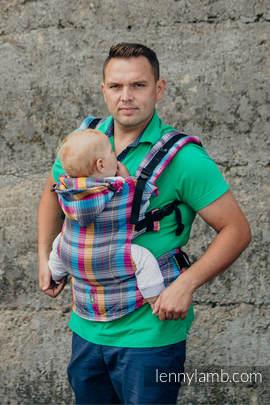Nosidełko Ergonomiczne , splot jodełkowy, 100% bawełna , Toddler Size, MAŁA JODEŁKA ŚWIATŁA MIASTA - Druga Generacja