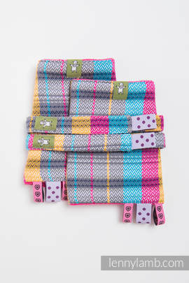 Drool Pads & Reach Straps Set, (100% cotton) - LITTLE HERRINGBONE CITYLIGHTS
