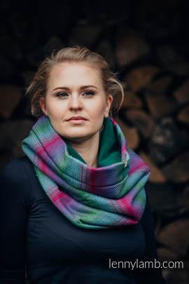 Kamin/Schal aus gewebtem Stoff  und Fleece - LITTLE HERRINGBONE IMPRESSION DARK und GRÜN