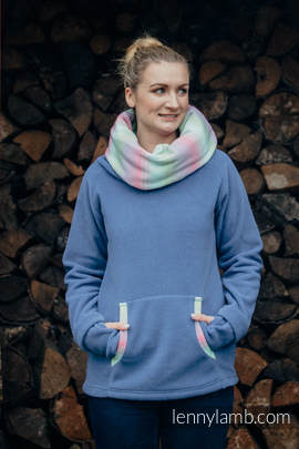 Fleece Pullover - Größe XXL - blau mit Little Herringbone Impression