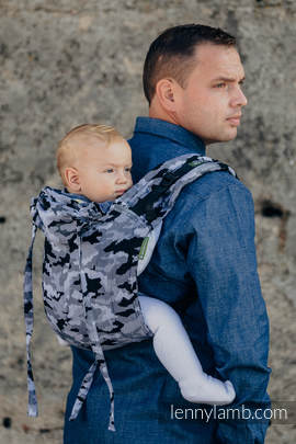 Lenny Buckle Onbuhimo, toddler size, jacquard weave (100% cotton) - Wrap conversion from GREY CAMO