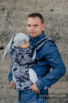 Nosidełko Ergonomiczne z tkaniny żakardowej 100% bawełna , Toddler Size, SZARE  MORO - Druga Generacja