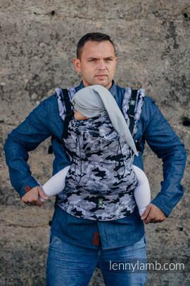Nosidełko Ergonomiczne z tkaniny żakardowej 100% bawełna , Baby Size, SZARE MORO - Druga Generacja
