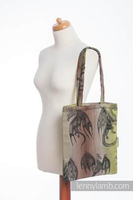 Shopping bag made of wrap fabric (100% cotton) - DRAGON GREEN & BROWN