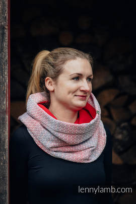 Snood Scarf with Fleece - LITTLE LOVE - HAZE & RED (grade B)