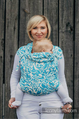 WRAP-TAI carrier Toddler with hood/ jacquard twill / 100% cotton / TWISTED LEAVES CREAM & TURQUOISE