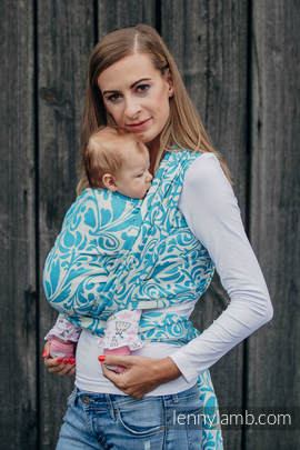 Baby Wrap, Jacquard Weave (100% cotton) - TWISTED LEAVES CREAM & TURQUOISE - size S (grade B)