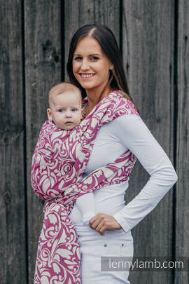 Baby Wrap, Jacquard Weave (100% cotton) - TWISTED LEAVES CREAM & PURPLE - size XS (grade B)