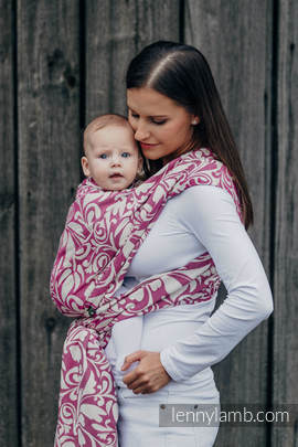 Baby Wrap, Jacquard Weave (100% cotton) - TWISTED LEAVES CREAM & PURPLE - size M (grade B)
