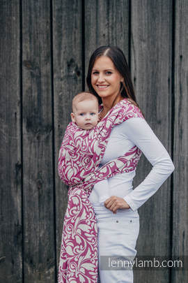 Baby Wrap, Jacquard Weave (100% cotton) - TWISTED LEAVES CREAM & PURPLE - size XL (grade B)