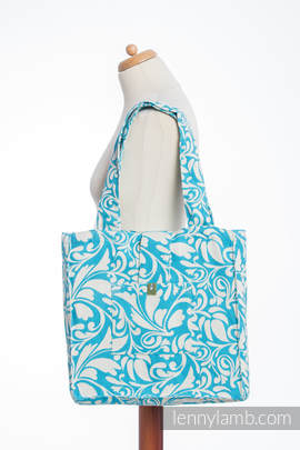 Shoulder bag made of wrap fabric (100% cotton) - TWISTED LEAVES CREAM & TURQUOISE - standard size 37cmx37cm