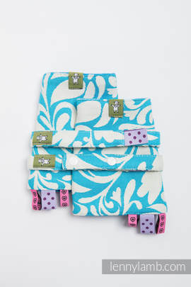 Drool Pads & Reach Straps Set, (100% cotton)t - TWISTED LEAVES CREAM & TURQUOISE