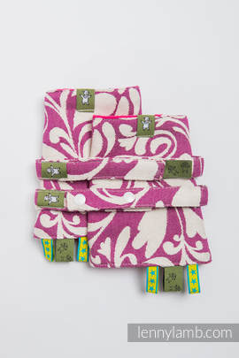 Drool Pads & Reach Straps Set, (100% cotton)t - TWISTED LEAVES CREAM & PURPLE