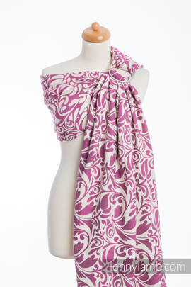Ringsling, Jacquard Weave (100% cotton) - TWISTED LEAVES CREAM & PURPLE (grade B)